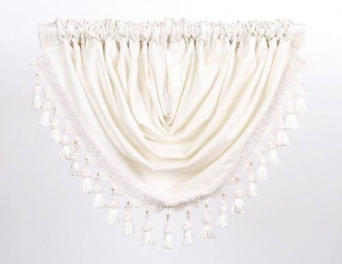 DESIGNER CURTAIN SWAG CHENILLE FABRIC WITH BEADED TASSELS CREAM COLOUR